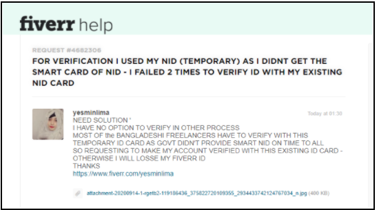 Fiverr nid card verify issue